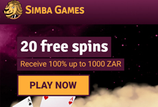 Simba Games is Giving away 20 Free Spins - No Deposit Needed